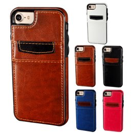 For iPhone 8 Shockproof TPU Leather Case Hybrid Case With Credit Card Slots Holder For iPhone 7 6 6S Plus Protective Shell Cover