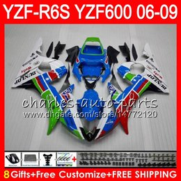 8Gifts 23Colors Body For YAMAHA YZF R6 S YZFR6S 06 07 08 09 57HM22 blue white YZF600 YZF R6S 06-09 YZF-R6S 2006 2007 2008 2009 Fairing kit