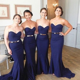Elegant Fitting Mermaid Long Bridesmaid Dresses Blue Sweetheart Neck Sleeveless Simple Wedding Party Guest Dress Maid of Honor Gowns