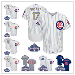 Wholesale 2017 World Series patch Men Chicago Cubs gold Javier Baez Kris Bryant Anthony Rizzo Ben Zobrist baseball jerseys