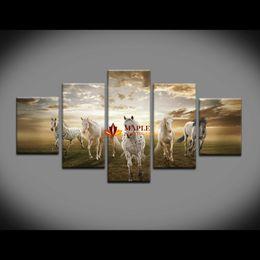 Acheter en ligne Pc hd-Unframed 5 pcs haute qualité à bas prix d'art photos Running Horse grande HD décoration murale moderne abstraite toile peinture à l'huile