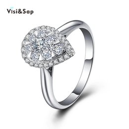 Visisap Water Drop white gold color ring wedding engagement Rings For Women elegant fashion jewelry Wholesale anel VSR085