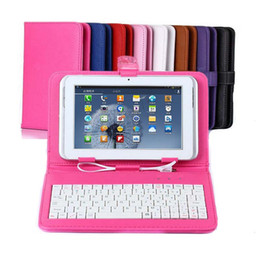 Lot USB Interface Keyboard Pen Leather Case For 7 8 9 9.7 10 10.1 Inch ePad Tablet PC Skin Solid Cover with Stand Holder