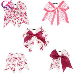 8 inch Large Cheer Bow For Girls Handmade Breast Cancer Cheerleading Cheer Bows With Ponytail Wholesale