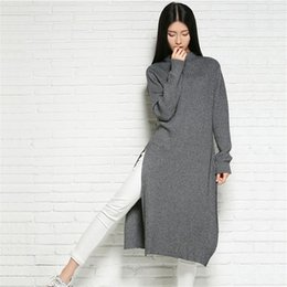 Senhoras jumpers casuais à venda-Atacado-WinterAutumn Mulheres O-Pescoço Cashmere Knitted Sweater Longo 2015 Moda Lady Knitting Pullover Jumper Casual Knitwear Brand New