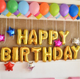 Wholesale 16 set HAPPY BIRTHDAY Alphabet Foil Balloons Letter Balloons DIY balloons happy Birthday Party Wedding Decoration Balloons B1082