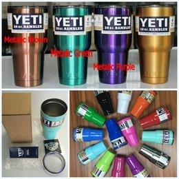 Wholesale New Colors YETI Tumbler Rambler Cups oz oz Large Capacity Stainless Steel Tumbler Mugs Metalic Purple Green Gold DHL Shipping
