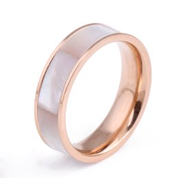Wholesale op Quality Inisde Polished Couple Rings K Gold Rose Plated Stainless Steel Ring Shells Luxury Jewelry
