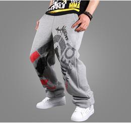 Desconto comprimento cintura quadril Atacado-Loose Geral High-End Impresso Hip-Hop Inverno Moda Masculina Streetwear Full-Length Warm Track cintura elástica Multi Colors Calças