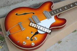 Wholesale Custom Shop John Lennon Revolution Casino Hollow Body Jazz Electric Guitar Tobacco Sunburst Finished Metal Tailpiece