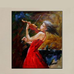 the Girl Play the Violin in Red,Pure Hand Painted Modern Abstract Home Decor Art Oil Painting On Thick Canvas.Multi Size Free Shipping Ab014