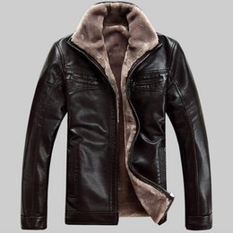 Wholesale Fashion Winter Men s Thick Leather Garment Casual flocking Leather Jacket Men s Clothing Leather Jacket