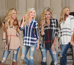 Wholesale Womens Long Sleeve Plaid Blouse Loose V neck Shirt Autumn Top Long T Shirt NEW