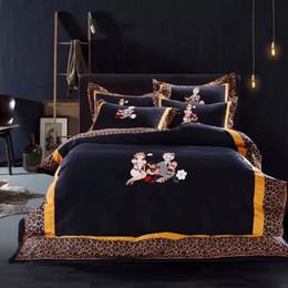el lecho atractivo del algodn pcs de las fundas s seaisland de la familia del leopardo de fija la coleccin casera noble de la manera y el tamao