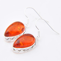 2017 New Dangle & Chandelier Red Mexican Women's Jaquetas Femininas free Shipping _ Hot Sell 925 Sterling Silver Plated Amber Earring E0050