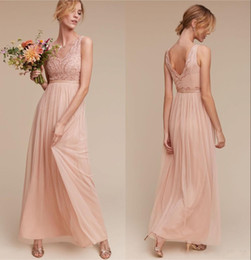 Cheap 2017 Vintage Blush Chiffon Bridesmaids Dresses V Neck Beads Sequins Sexy Low Back Maid Of Honor Gowns Wedding Guest Bridesmaid Dresses