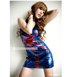 Wholesale Corset Girl Costume - Hot sale America Flag Costumes Mini Sexy Dresses Women Red Sequins United Kingdom party Dresses Cosplay Corset dresses girl Free size