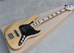 Wholesale Ash Natural Wood ColorJazz Electric Bass Guitar with String Black Hardwares Maple Fingerboard Offer Customized
