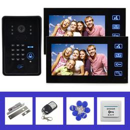 Télécommande 7inch LCD vidéo sonnette porte téléphone interphone avec télécommande code mot de passe clavier RFID lecteur 4 en 1 IR caméra à partir de porte le code d'interphone fournisseurs