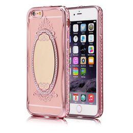 2017 anillo de metal espejo Diamante de lujo de la princesa Rhinestone del diamante que platea la caja del maquillaje de TPU para el iPhone 5 5S SE 6 6S 6Plus iPhone7 más el soporte del anillo de la cubierta anillo de metal espejo oferta