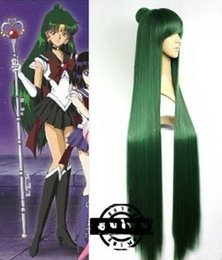100% Brand New High Quality Fashion Picture full lace wigs>Anime Sailor Moon Sailor Pluto Meiou Setsuna Straight Green Cosplay Wig