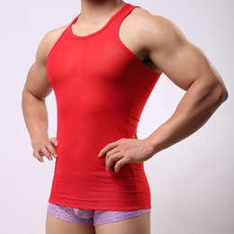 Summer Style Brand New Mesh Transparent Men Sexy Bodybuilding Tank Tops Male Gay Wrestling Singlet Shirt M L XL