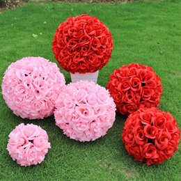New Artificial Encryption Rose Silk Flower Kissing Balls Large Hanging Ball Christmas Ornaments Wedding Party Decoration Supplies