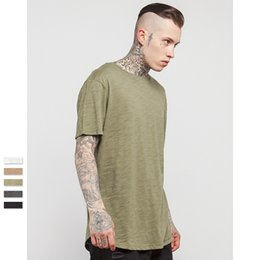 Wholesale New Mens Blank Bamboo T Shirts Fashion Short Sleeve LongLine Tsihrts For Men Long Line Tall Tee Shirts Curved Hem