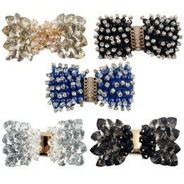 Fille accessoires pour cheveux clips à vendre-Vente en gros Style Hot Selling 3 pouces Patternred Grsograin Ruban Boutique Boucles d'oreilles en cristal pour les filles Brillant strass Accessoires cheveux