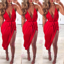 Wholesale EBay Best Sellers Irregular Skirt High Waist Vent Sexy Nightclub Camisole Dress European New Product Solid Adult