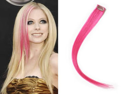 """7 Colors Highlight Colorful Human Hair Clip in Extensions,100% Indian Human Hair Made, 18"""" ,Pink,5g pcs,2pcs,Free Shipping"""
