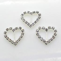 100pcs lot 10mm Bar Clear Rhinestone Buckle Heart For Wedding Invitation Diamante Ribbon Sliders Wedding Decoration