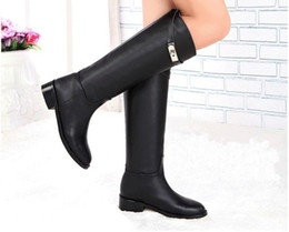 Promotions 2017 New Designer Fashion Original Cowhide Leather Boots,ladies High-leg Shoes,Women's flats Knee Motorcycle boots size34-42