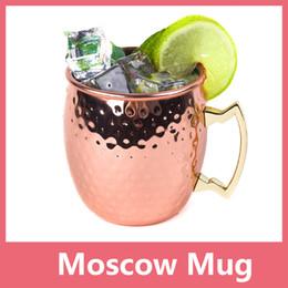 Ensembles de batterie à vendre-Martelé en cuivre plaqué en acier inoxydable de cuivre Moscou Mule Mug Set Drum-Type Beer Drink Water Drinkware Couvercle Livraison gratuite 1114