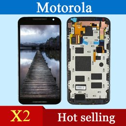 Wholesale High quality AAA mobile phone LCD Motorola X2 XT1097 LCD touch screen and digitizer complete assembly framework black and white free shippi