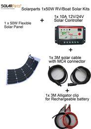 Solarparts Основные комплекты 12V 1X50W DIY RV / Marine Солнечная система наборы 50W гибкая панель солнечных батарей + контроллер + кабель напольный свет свет водить от Поставщики р.в. комплекты солнечных панелей