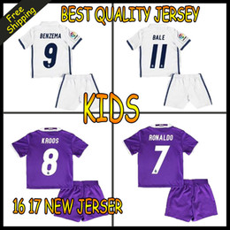Wholesale Top de calidad Away Home Real Madrid Jerseys niños camiseta Benzema James Bale Ronaldo Mayoristas Liga española Fútbol Jersey