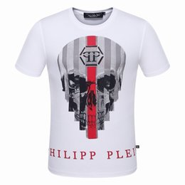 Wholesale New Arrived Best Price Good Quality Men s Fashion Geometric Stripe Big Skull Design Logo Short Sleeve T Shirts Tees M XL