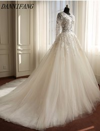 SSYFashion 2018 New Wedding Dress The Bride Elegant Lace Flower Embroidery Long Sleeved Sweep Train A-line Wedding Gown Custom