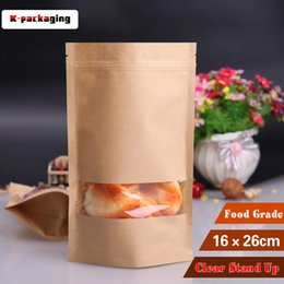 5 pcs 16x26cm Kraft Paper Surface Food Pouch   Paper Snack Pouch with Window   Kraft Paper Food Bags