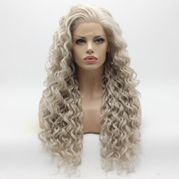 Iwona Hair Curly Long Grey Wig 18#4503 1001 Half Hand Tied Heat Resistant Synthetic Lace Front Wig