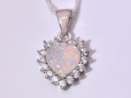 Wholesale & Retail Fashion Jewelry Fine White Fire Opal Stone Silver Plated Pendants For Women PJ16011003