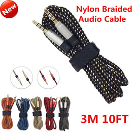 3.5mm Male Stereo Auxiliary AUX Cable Extension Unbroken Metal Nylon Braided Car Audio Cable 3M 10FT for iphone MP3 Speaker Tablet PC