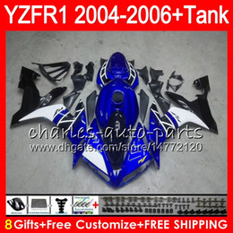 8Gift 23Color Body For YAMAHA YZF R 1 YZF 1000 YZFR1 04 05 06 58HM20 blue black YZF-R1000 YZF-R1 YZF1000 YZF R1 2004 2005 2006 Fairing kit