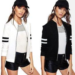 Femmes Veste de base-ball Noir Blanc Coréen Européen Mignon Long Sleeve Zipper Coat Survêtement Sportwear Basique Bomber Sweatshirt Hoodies YYFS 5363 à partir de coton ouaté korean veste de baseball fournisseurs