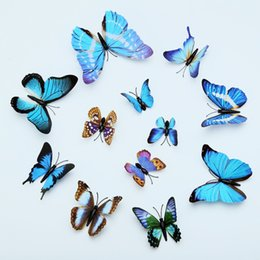 Creative 3D stereo simulation butterfly fridge stickers home decoration 12 sets Butterfly Stickers