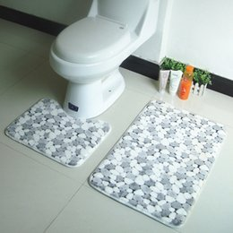 Wholesale set PVC Mesh Thicken Coral Fleece Floor Bath Mats Set Non Slip Bathroom Toliet Rugs cm Water Absorption Carpet