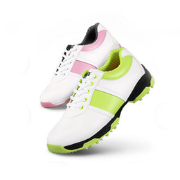 Wholesale PGM Brand Golf Shoes Women Superfine Leather Anti skid D Air Guide Groove Patent Shoes Waterproof Leisure Sport Sneakers