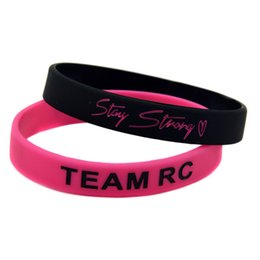 Wholesale Drop Shipping 100PCS Lot TEAM RC Stay Strong Cancer Awareness Silicone Wristband Inspirational Bracelet Promotion Gift