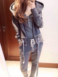 European and American Sports and Leisure Suit Female Autumn and Winter Long Sleeve Cap Short Top Trousers Light Gray Three Pieces Set